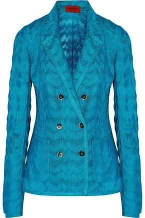 Missoni Woman Double-Breasted Metallic Crochet-Knit Jacket Turquoise