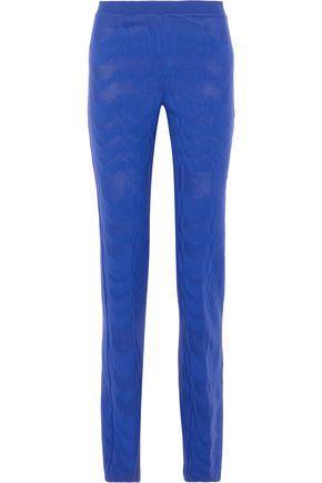 Missoni Woman Crochet-Knit Wool Straight-Leg Pants Bright Blue