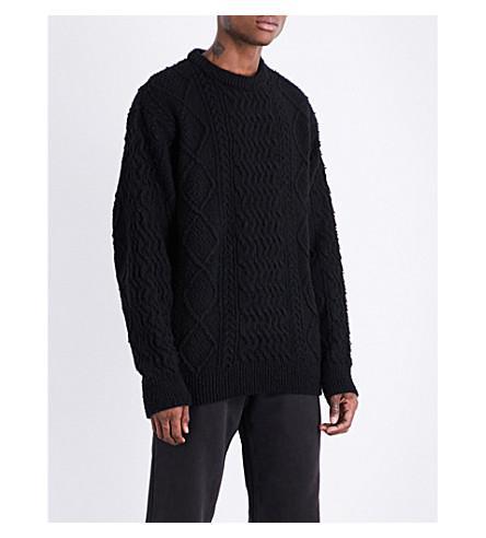 Yeezy Season 5 Chunky-Knit Wool-Blend Sweater In Ink