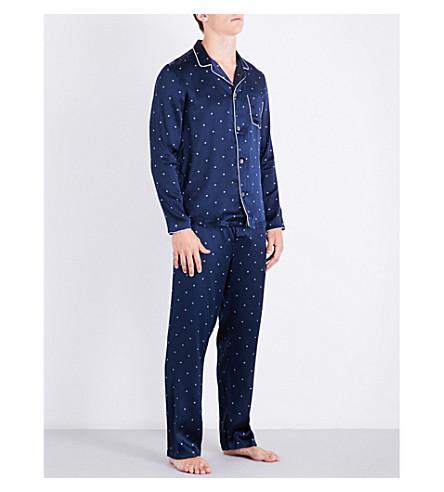 Derek Rose Modern Diamond-Print Silk-Satin Pyjama Set In Navy