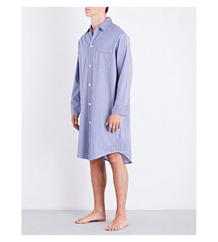 Derek Rose Striped Cotton Nightshirt In Blues