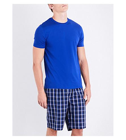 Derek Rose Naturally Checked Woven-Cotton Pyjama Shorts In Navy