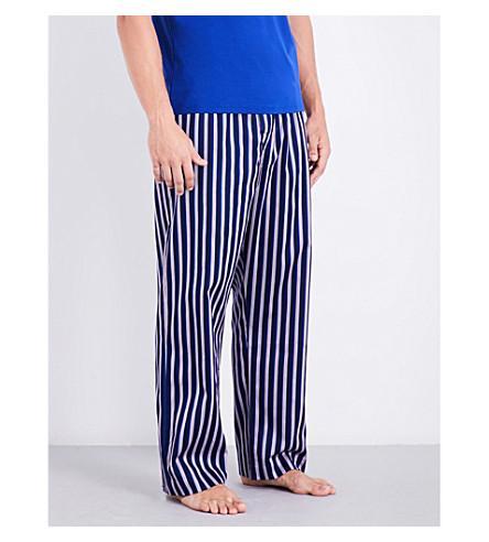 Derek Rose Naturally Striped Cotton Pyjama Bottoms In Navy