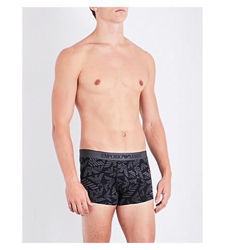 Emporio Armani Eagle Logo Stretch-Cotton Boxer Trunks In Aubergine