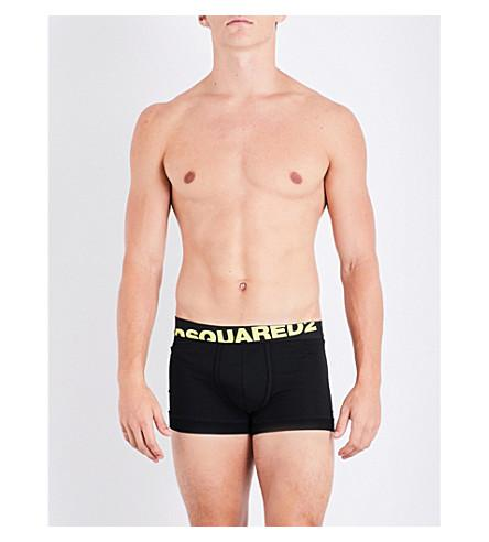Dsquared2 Neon Logo Stretch-Cotton Trunks In Blk Yellow