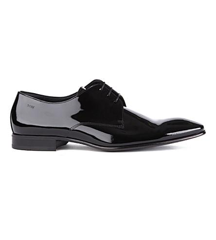 Hugo Boss Cristallo Chisel Derby Shoes In Black