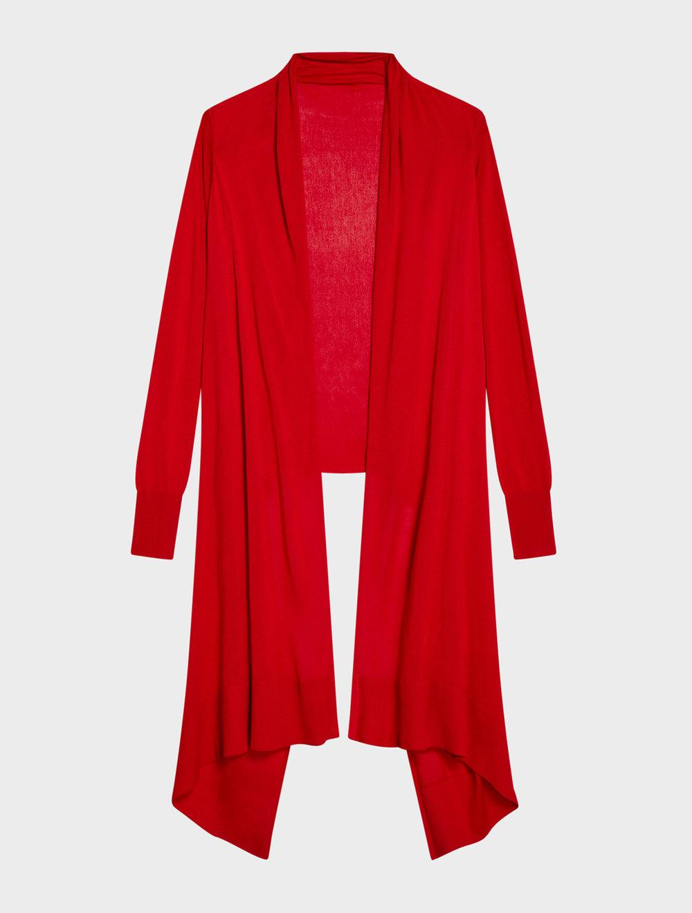 Dkny Open-Front High-Low Cozy Cardigan In Red
