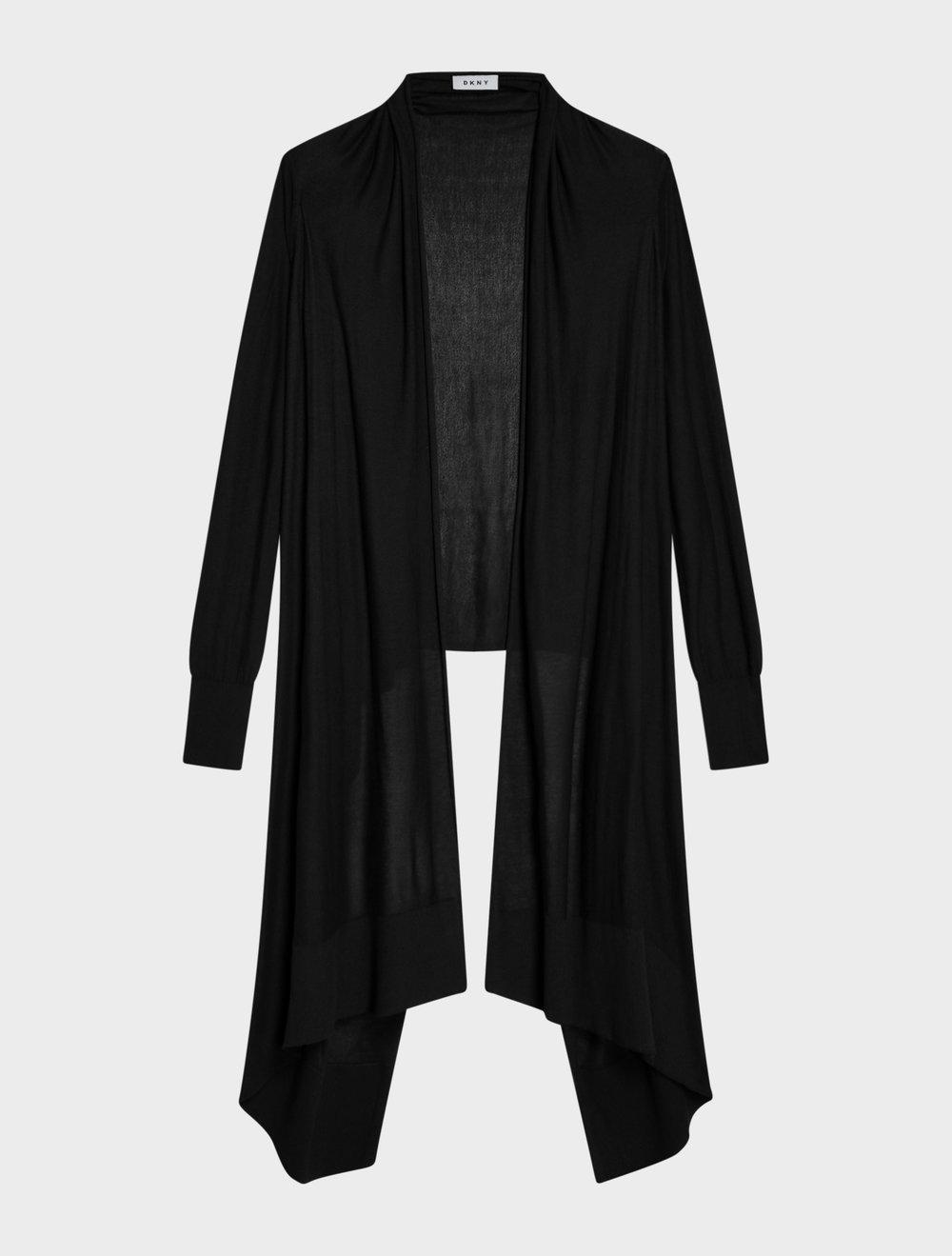 Dkny Long Sleeve Cozy Cardigan In Black