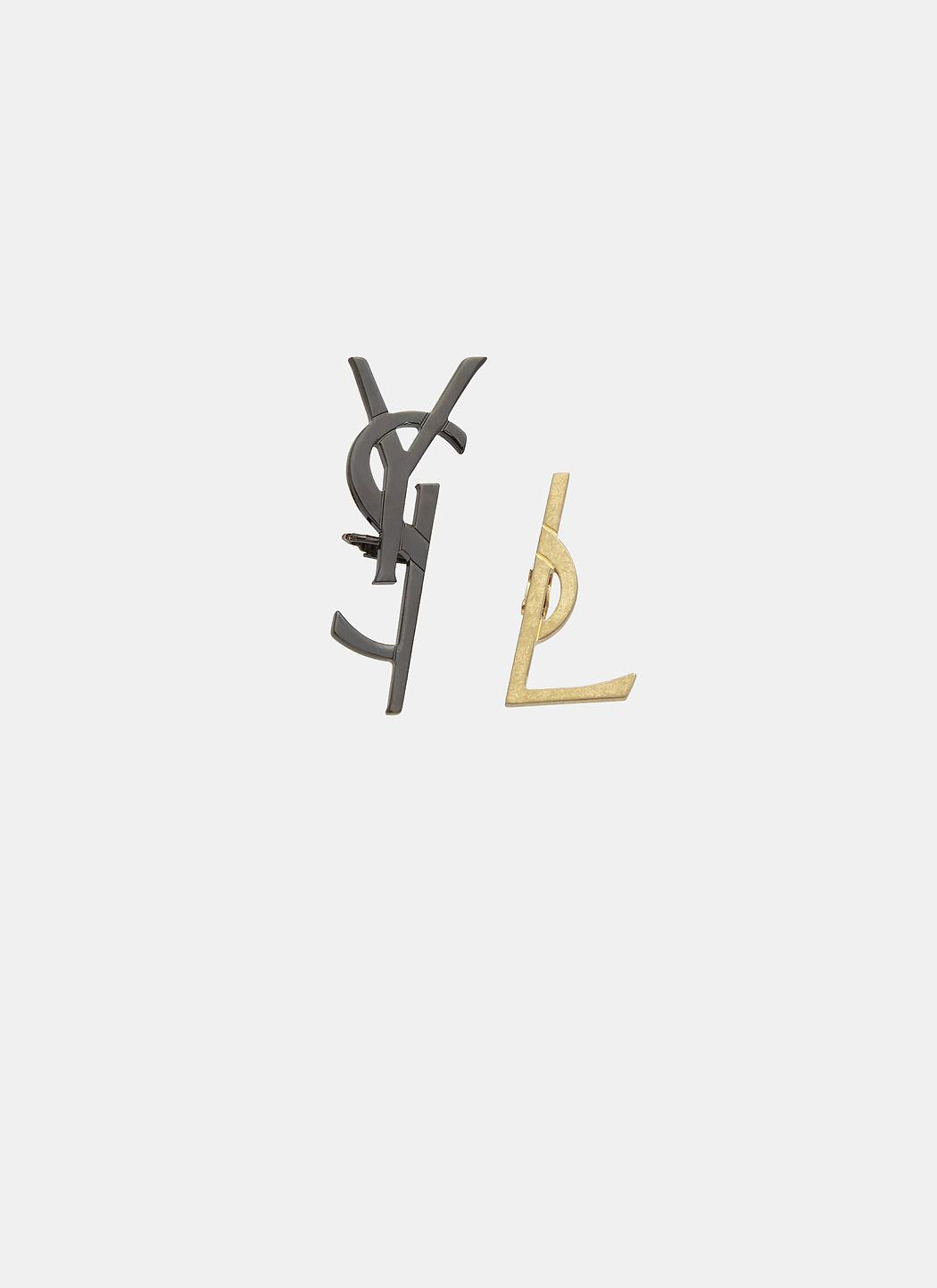 Saint Laurent Deconstructed Monogram Logo Earrings In Black And Gold