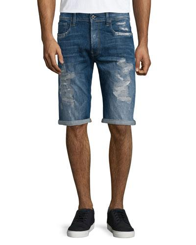 G-Star Distressed Straight-Leg Denim Shorts In Medium Blue