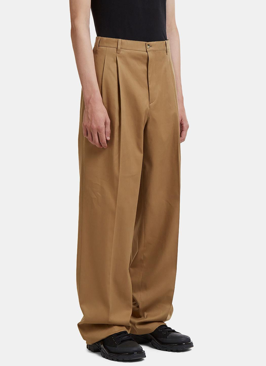 Raf Simons Pleated Duct Tape Chinos In Beige