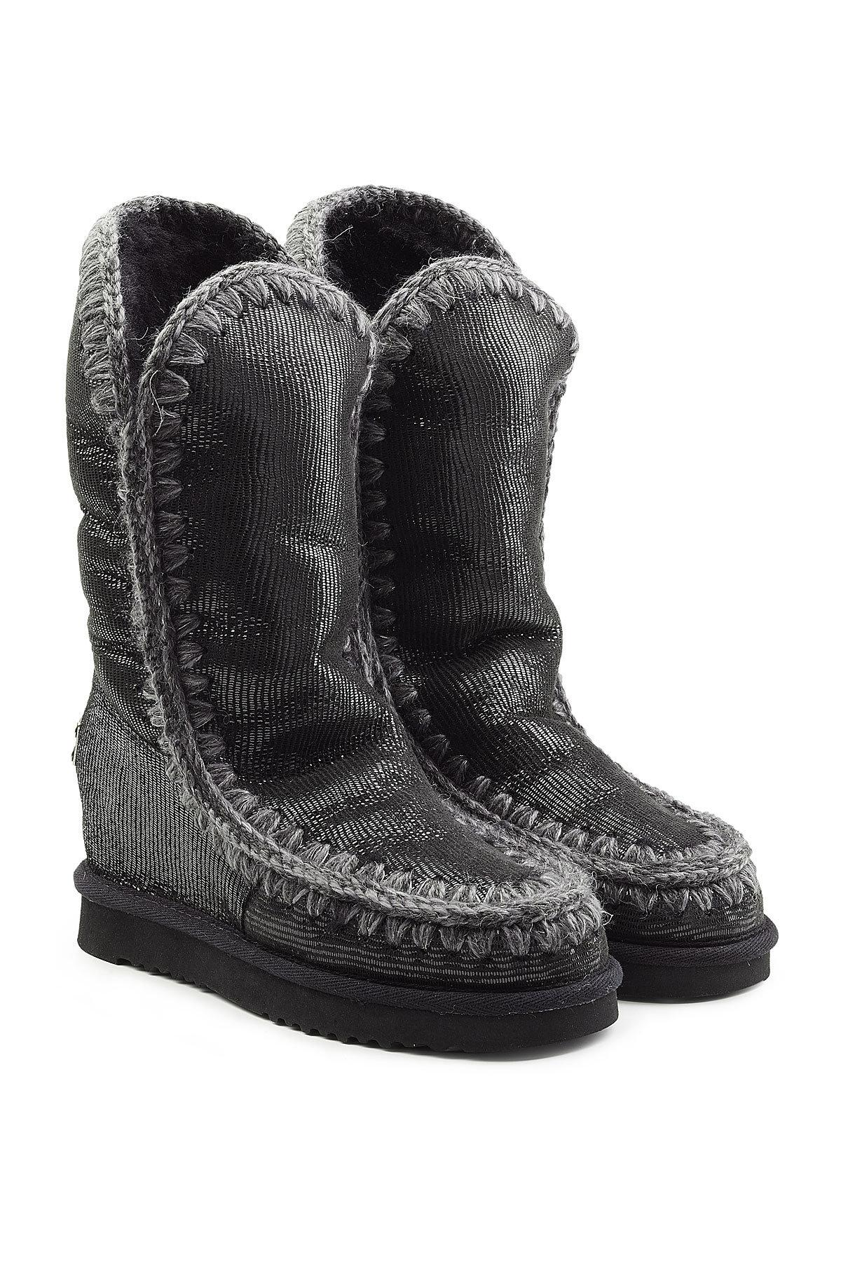 Mou Tall Wedge Sheepskin Boots In Black
