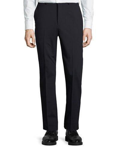 Dkny Wool-Blend Straight-Leg Trousers, Black In Navy