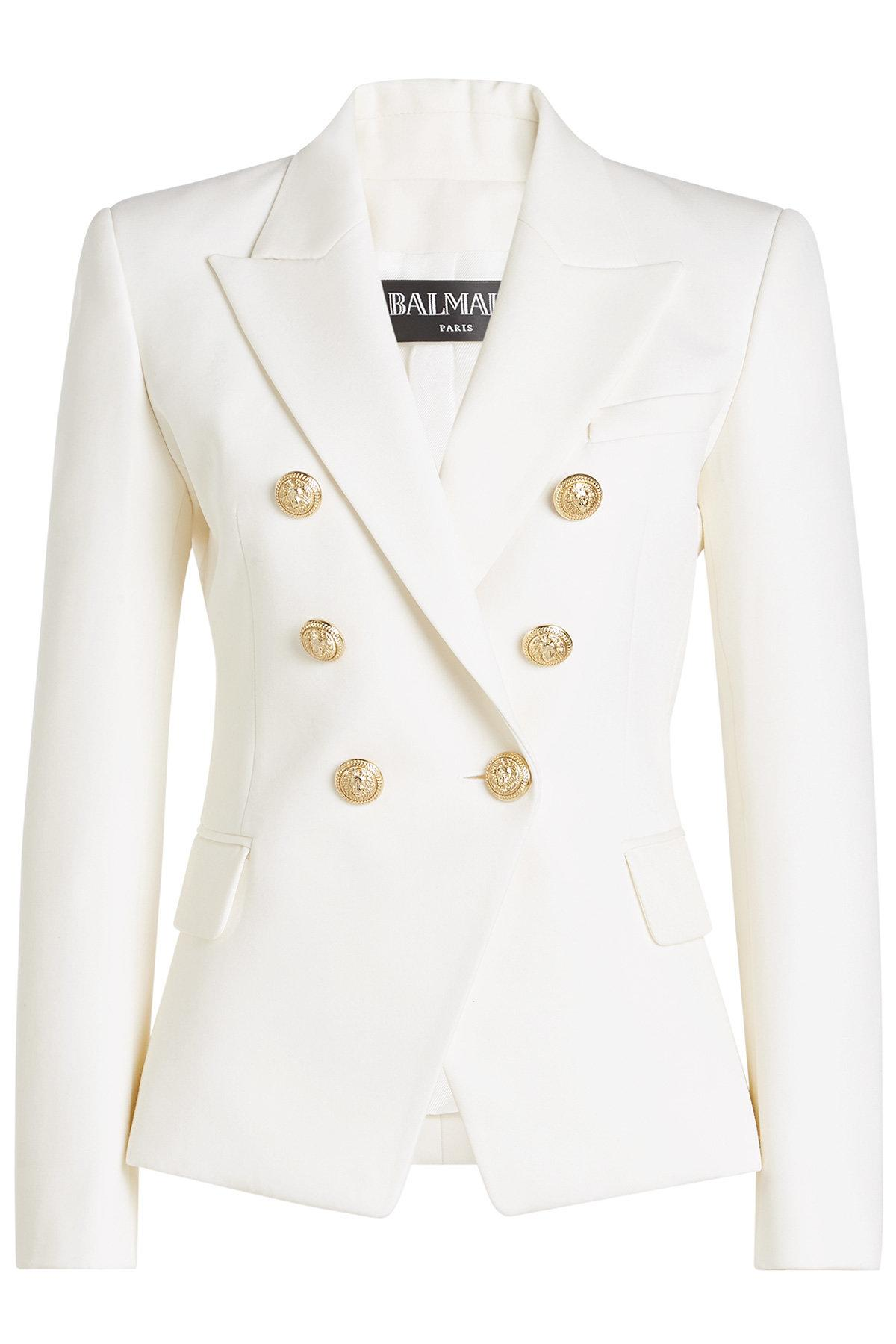 Balmain Wool Blazer With Embossed Buttons In White