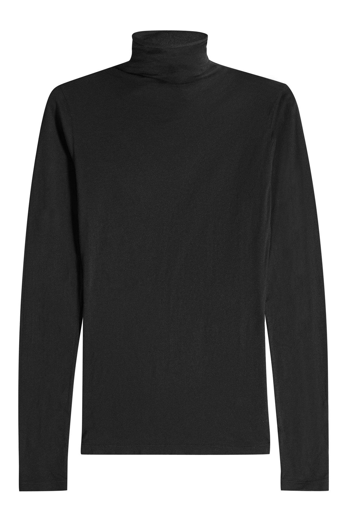 Velvet Cotton Turtleneck Pullover In Black