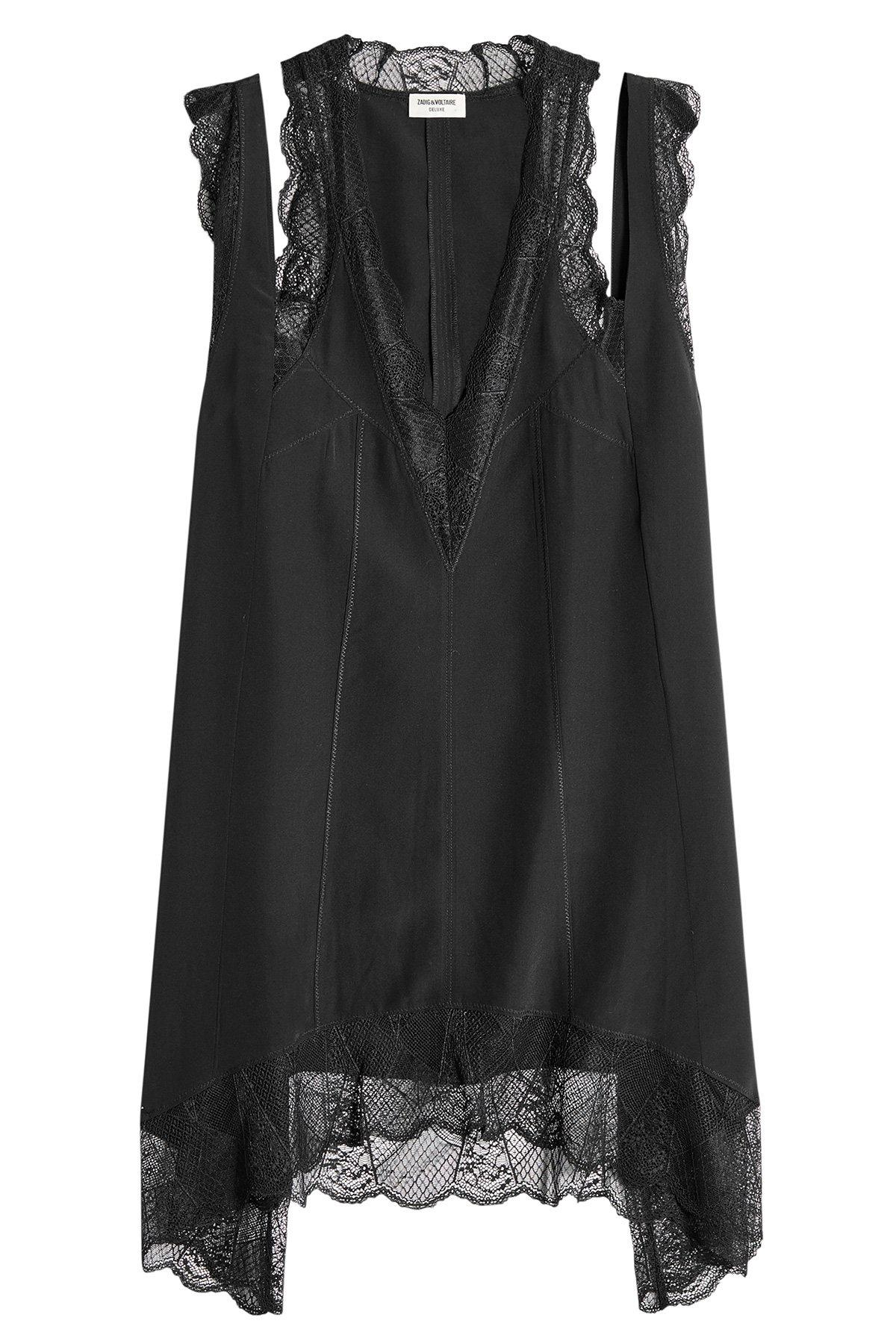 Zadig & Voltaire Silk Dress With Lace In Black