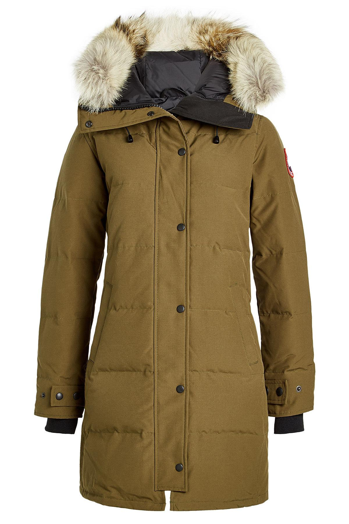 Canada Goose Shelburne Down Parka With Fur-Trimmed Hood In Green