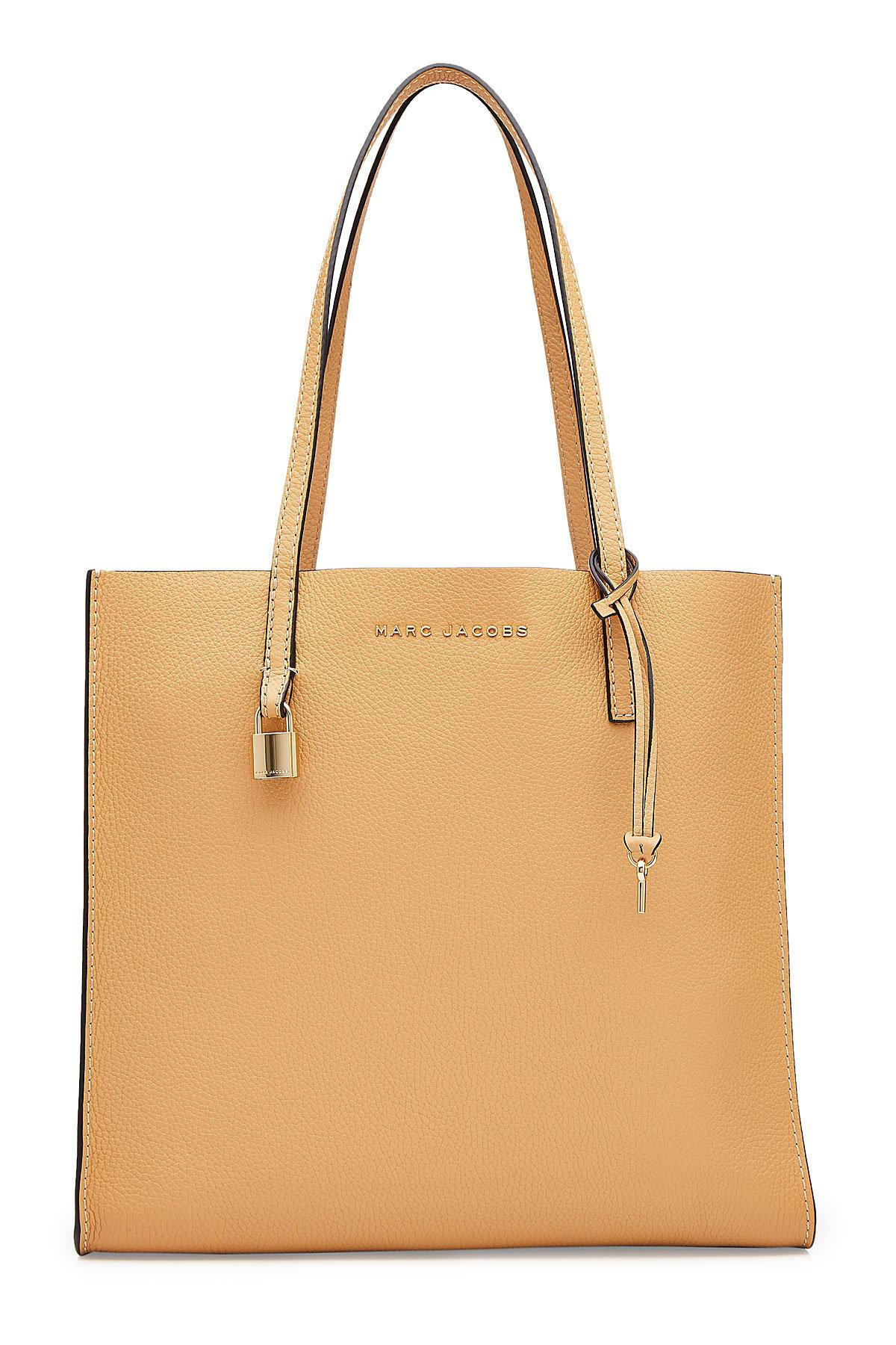 Marc Jacobs Leather Tote In Beige