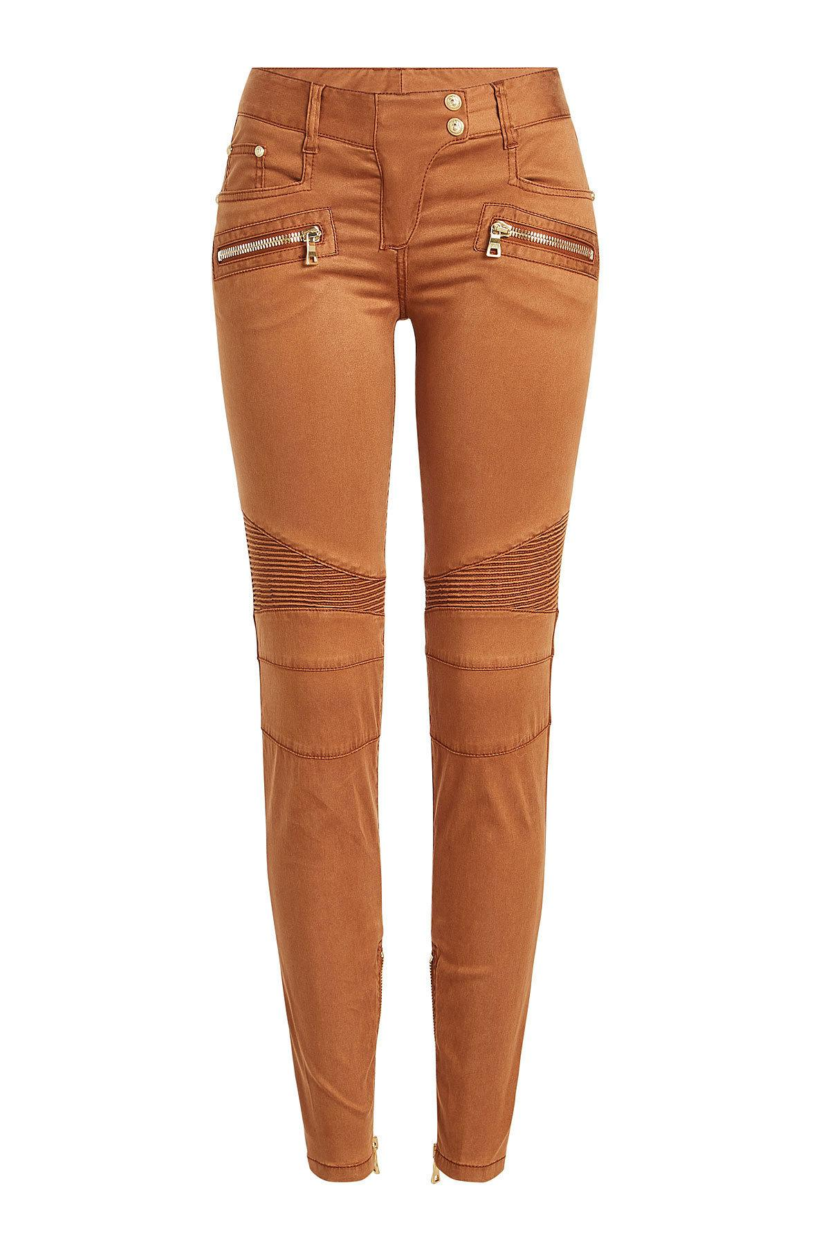 Balmain Biker Pants With Zipped Ankles In Brown