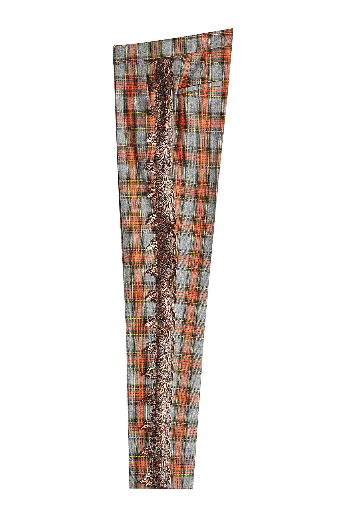 Marco De Vincenzo Printed Virgin Wool Pants With Embroidery In Multicolored