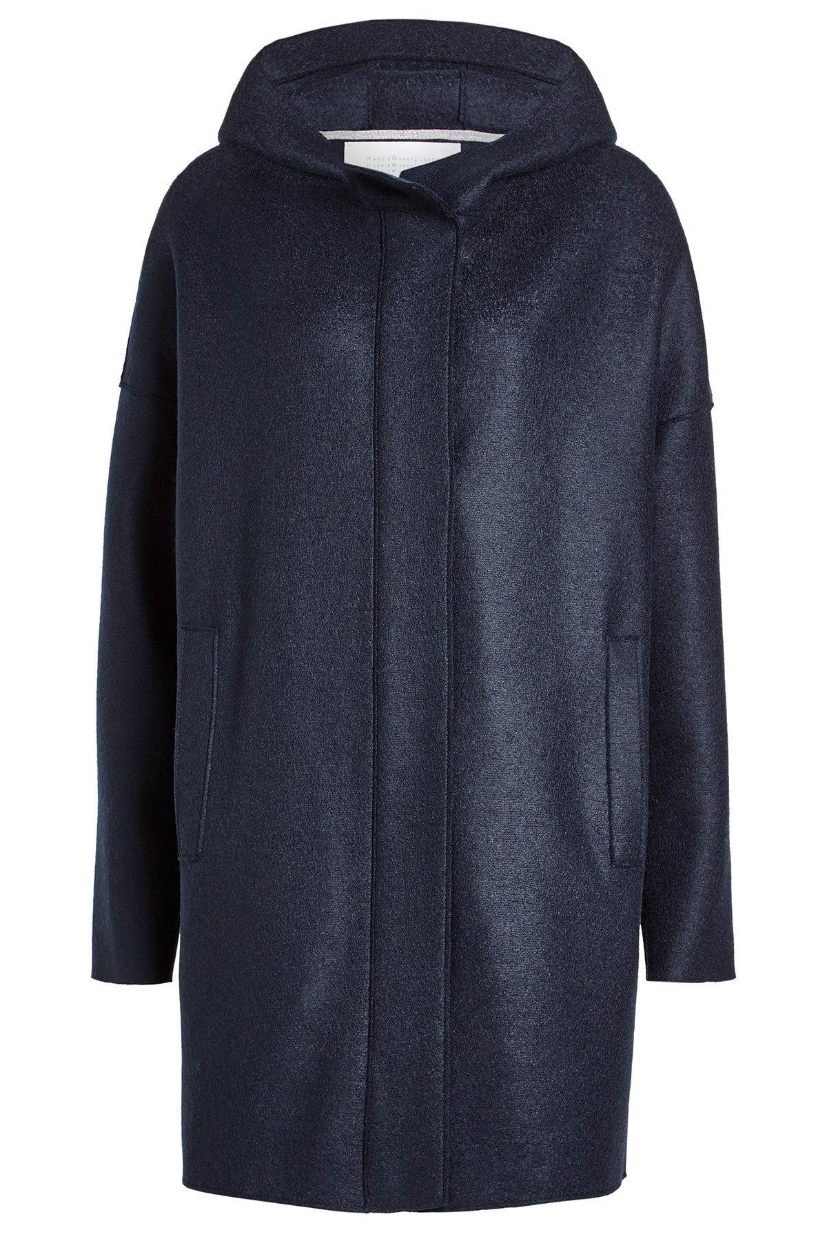 Harris Wharf London Virgin Wool Coat In Blue