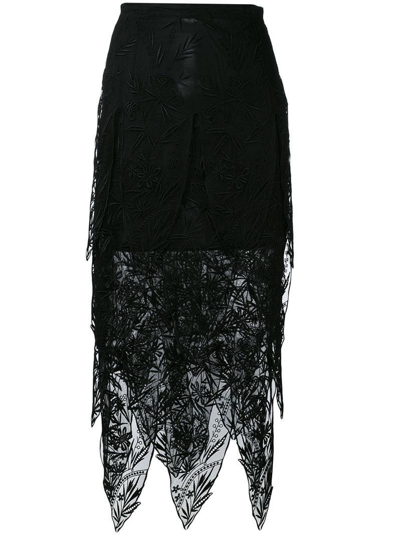 Christopher Kane Lace Teeth Midi Skirt In Black