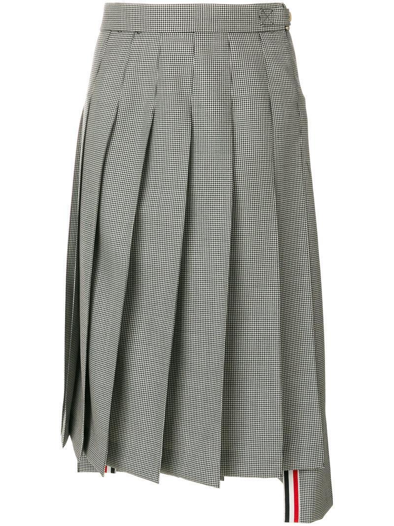 Thom Browne Below Knee Dropped Back Pleated Skirt In School Uniform