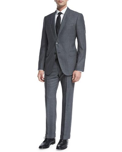 Giorgio Armani Pinstripe Sharkskin Two-Piece Suit, Gray/Blue