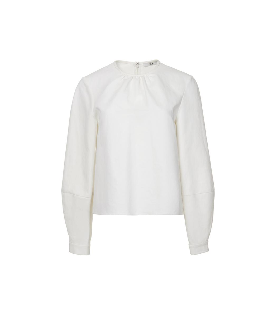 Tibi Ivory Chassis Lantern Sleeve Top