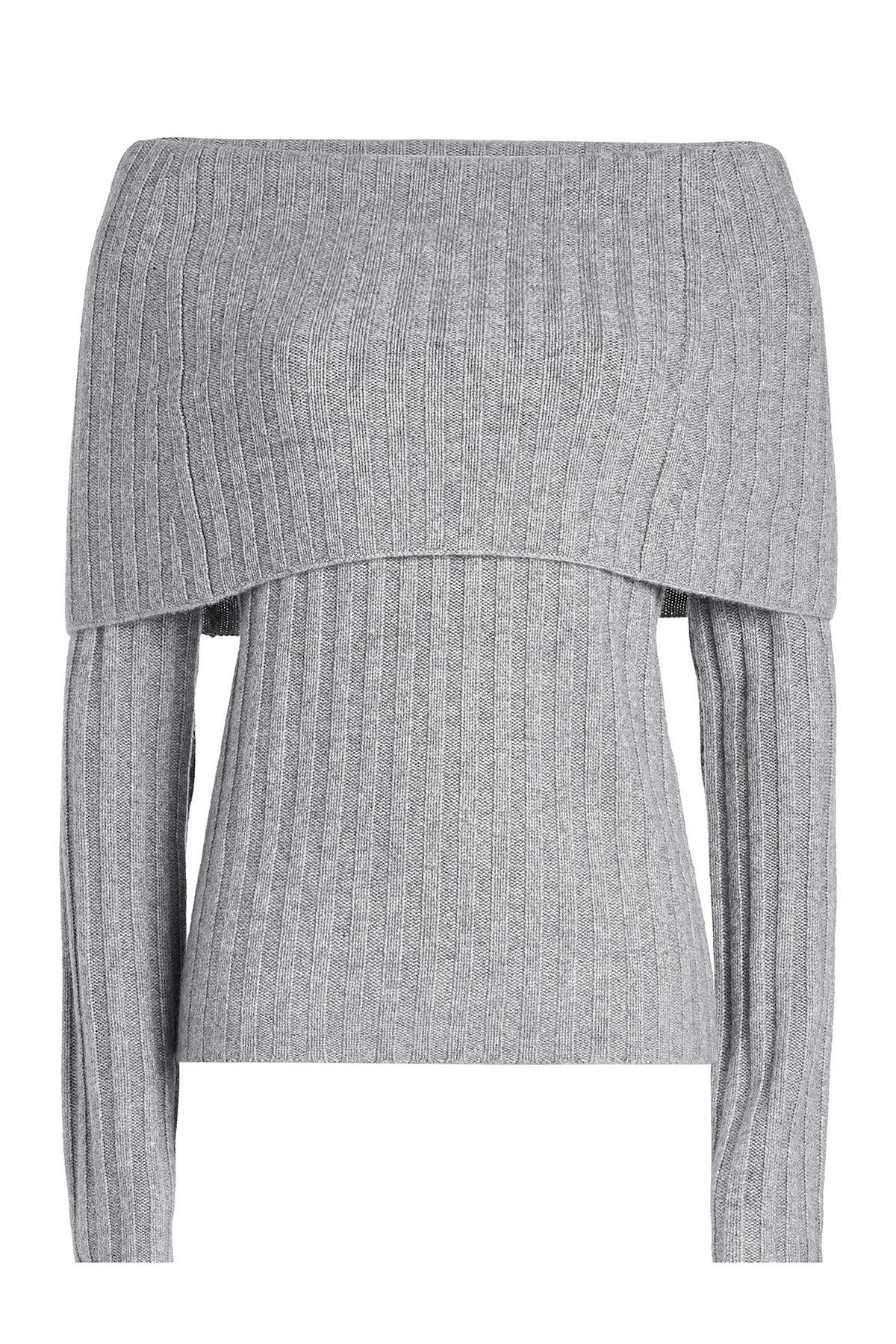 Theory Ribbed Cashmere Pullover In Grey
