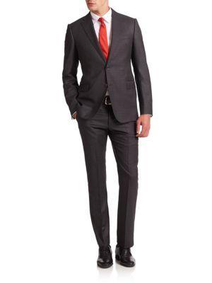 Armani Collezioni Two-Button Virgin Wool Suit In Dark Grey
