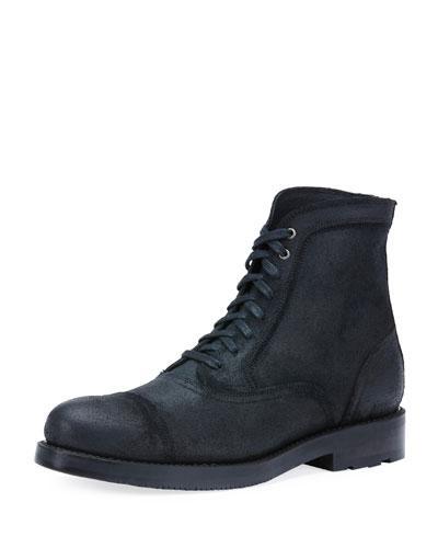 Frye Brayden Bal Waxed Lace-Up Boot, Black