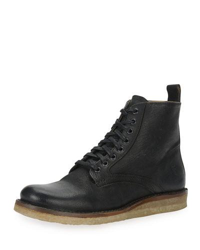 Frye Philip Crepe Lace-Up Boot In Black