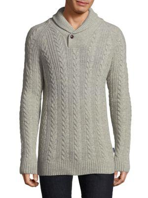 Barbour Cable-Knit Wool Shawl Sweater In Fog