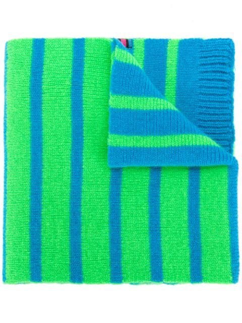 Ps By Paul Smith Reversible Neon Stripe Scarf In Green