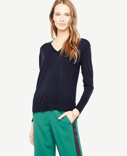 Ann Taylor Petite Extrafine Merino Wool V-Neck Sweater In Night Sky