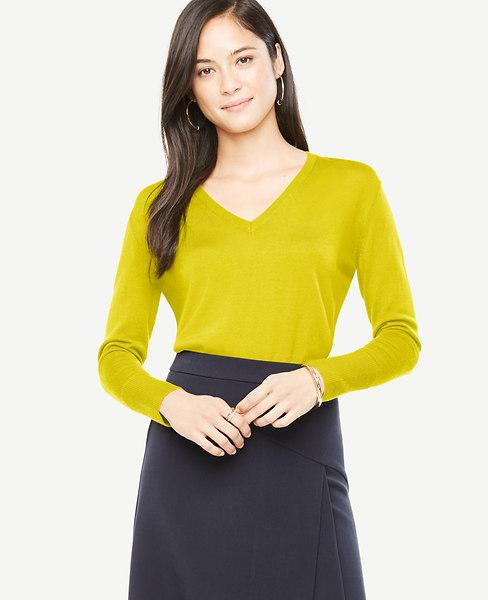 Ann Taylor Petite Extrafine Merino Wool V-Neck Sweater In Gold Ochre