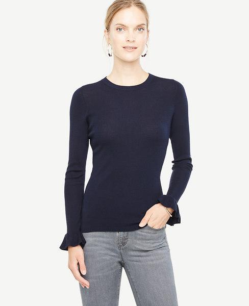 Ann Taylor Petite Extrafine Merino Wool Ruffle Cuff Sweater In Navy Blue