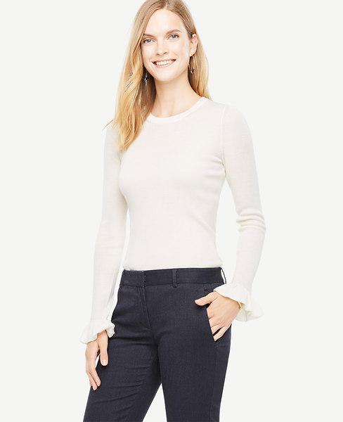 Ann Taylor Extrafine Merino Wool Ruffle Cuff Sweater In Winter White
