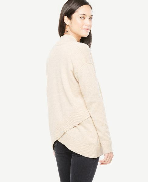 Ann Taylor Petite Cross Back Open Cardigan In Saddle Neutral