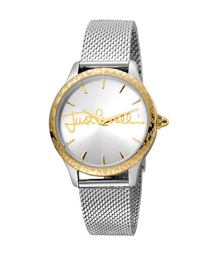 Just Cavalli 34Mm Logo Two-Tone Stainless Steel Bracelet Watch W/ Leopard Bezel, Multi