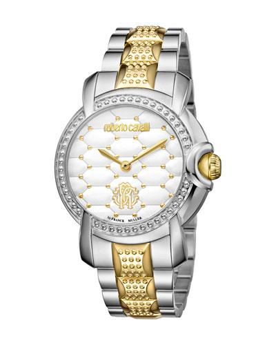 Roberto Cavalli Womens Two-Tone Silver/Gold Watch With White Dial In Multi