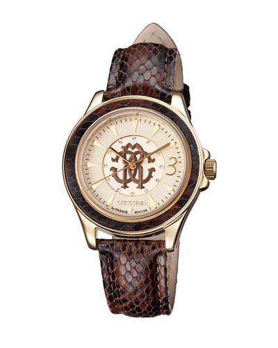 Roberto Cavalli 37Mm Yellow Golden Stainless Steel Bracelet Watch In Brown