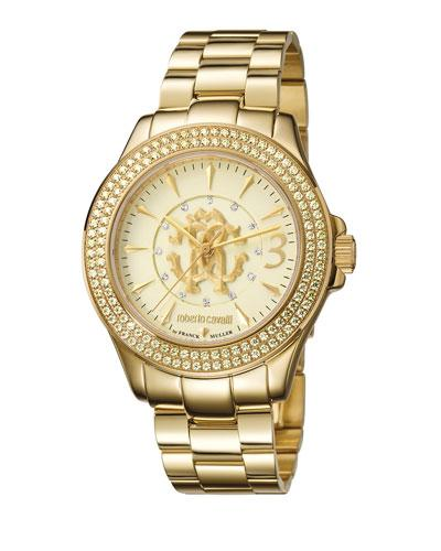 Roberto Cavalli 37.5Mm Pave Crystal Yellow Golden Stainless Steel Bracelet Watch In Champagne