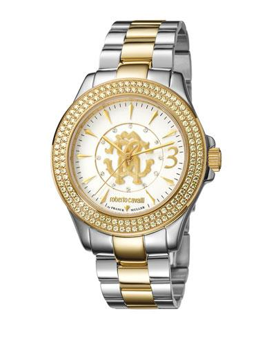 Roberto Cavalli 37.5Mm Pave Crystal Two-Tone Stainless Steel Bracelet Watch, Multi