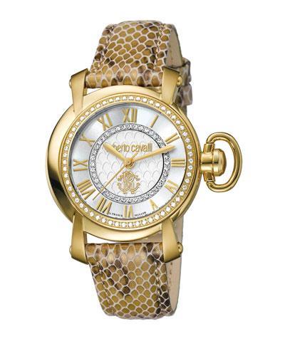 Roberto Cavalli 41Mm Golden Stainless Steel Watch W/ Calfskin Strap, Ivory
