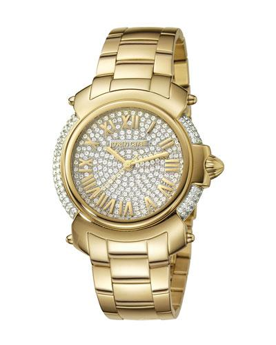Roberto Cavalli 40Mm Yellow Golden Stainless Steel Bracelet Watch