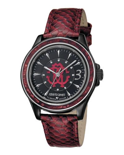 Roberto Cavalli 37Mm Black Stainless Steel Watch W/ Calfskin Leather Strap In Red