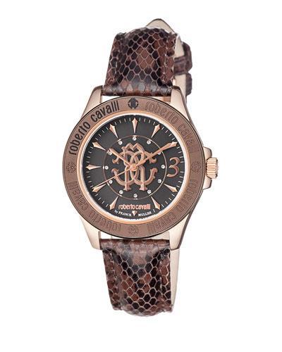 Roberto Cavalli 37Mm Rose Golden Watch W/ Calfskin Leather Strap In Brown
