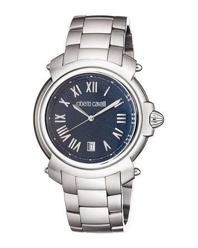 Roberto Cavalli 44Mm Men's Stainless Steel Bracelet Watch In Navy